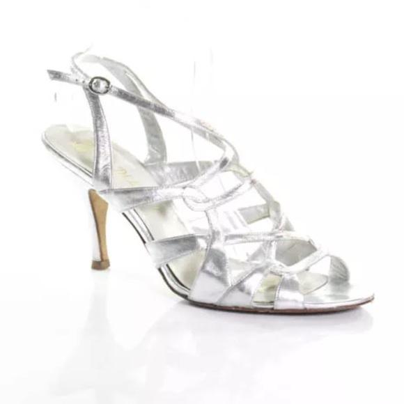 Delman Shoes - DELMAN SILVER LEATHER STRAPPY SANDALS SIZE 10